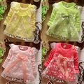 Varejo! novo 2017 meninas do bebê camisas crianças roupas de algodão vestido de crianças arco laço princesa camisa como vestido de 4 cores de Boa Qualidade