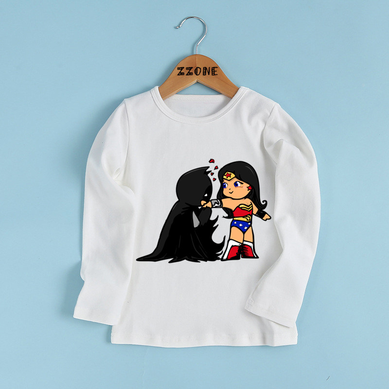 Kids Wonder Woman And Batman Cartoon Print T Shirt Baby -9428