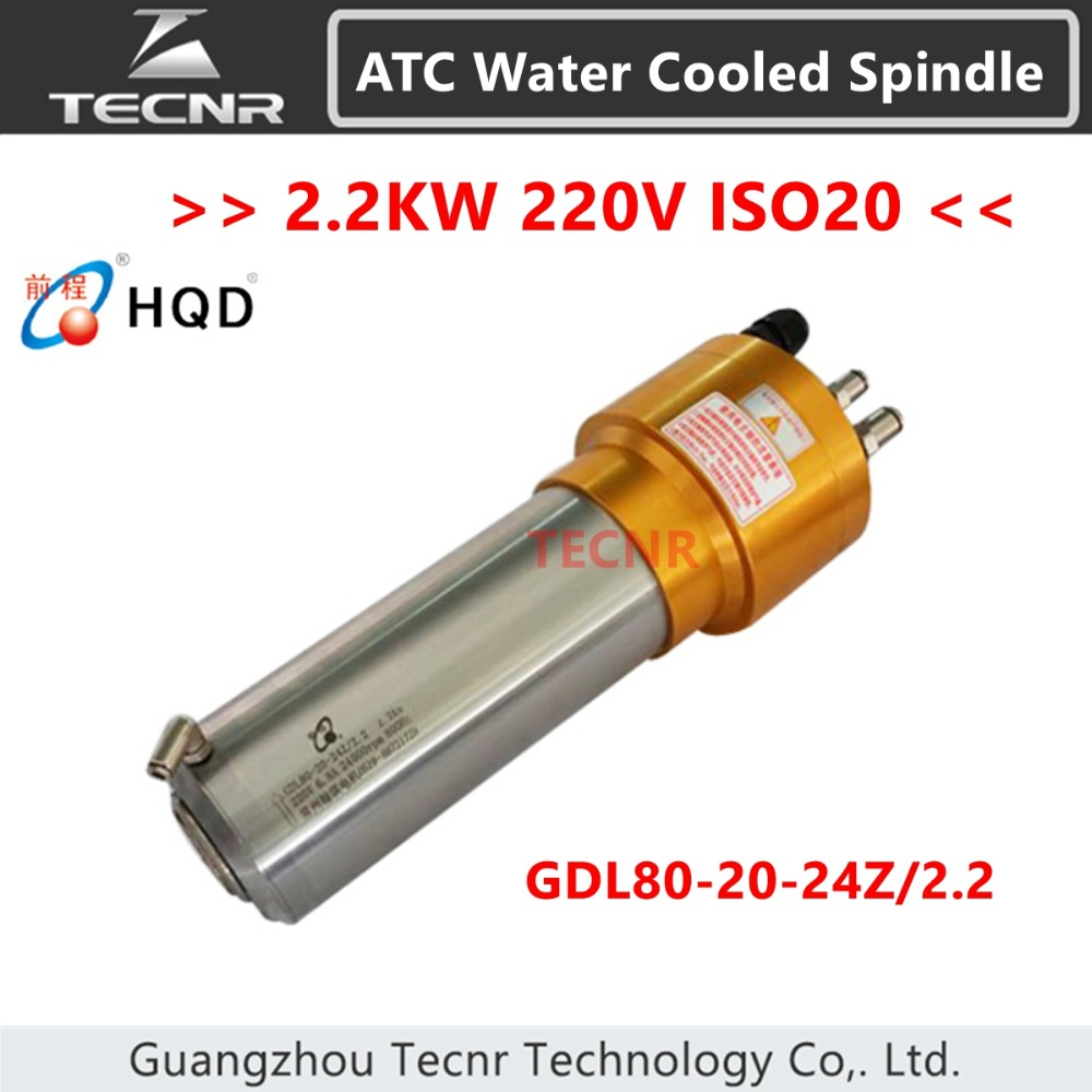 TECNR 2.2KW ATC water cooled spindle motor ISO20 Automatic Tool Change spindle for mental cutting GDL80-20-24Z/2.2 цена