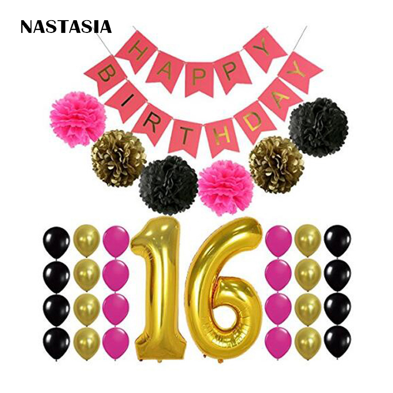 16th BIRTHDAY PARTY SUPPLIES DECORATIONS - Hot Pink Happy Birthday Banner Sign, Number 16 Mylar Balloon,Pink Gold Black