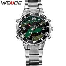 Nueva caliente ejército WEIDE relojes deportivos hombres de acero completa marca de lujo de cuarzo militar deporte Display analógico Digital reloj de pulsera