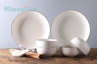 14Pcs Simple Dishware Set Hotel Ceramic Tableware Home Rice Bowl Plate Combination For Home Kitchen Supplies