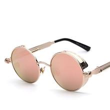 2018 Steampunk Gothic Retro Vintage Mirror Lens Round Sunglasses for Men Women Polarized High Street