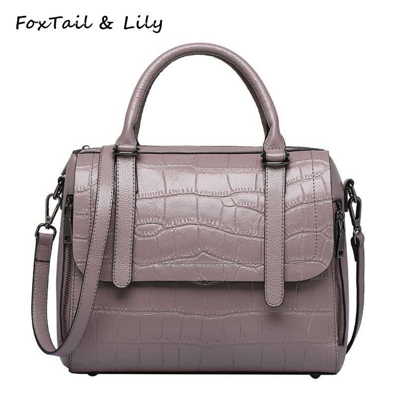 FoxTail & Lily Stone Pattern Luxury Handbags Women Bags Designer Ladies Genuine Leather Shoulder Crossbody Bags Multi Pockets