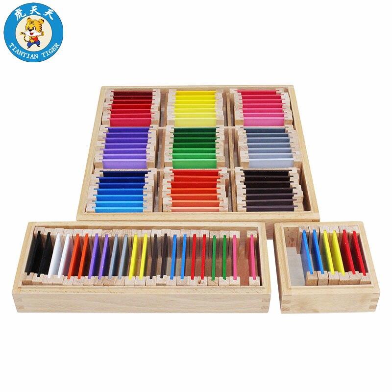 Montessori sensoriel jouets en bois apprentissage éducation jeux matériel d'enseignement couleur tablettes boîtes ensemble