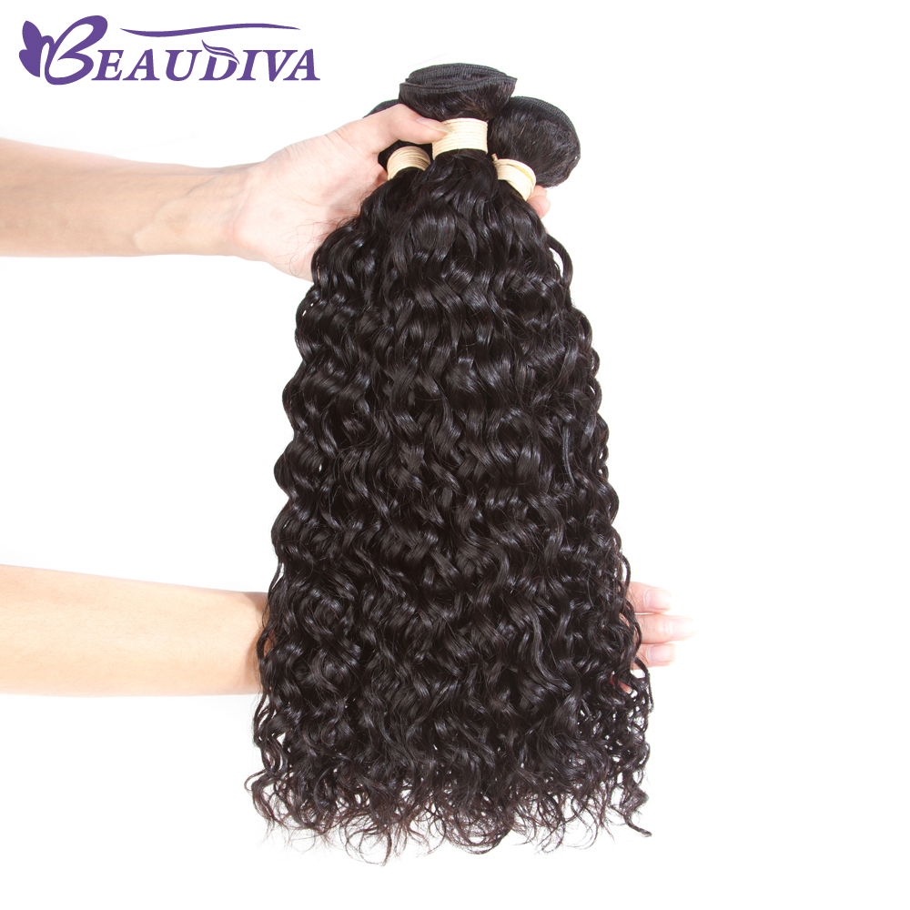 Beaudiva Brazilian Water Wave 3 Bundles Brazilian Curly Hair Water Wave Human Hair Weave Bundles Natural Balck Color