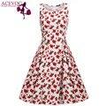 ACEVOG Retro Women Sleeveless Floral Cherry Print Sundress High Waist Pleated Swing Slim Party Knee Dress Slim 3 Colors