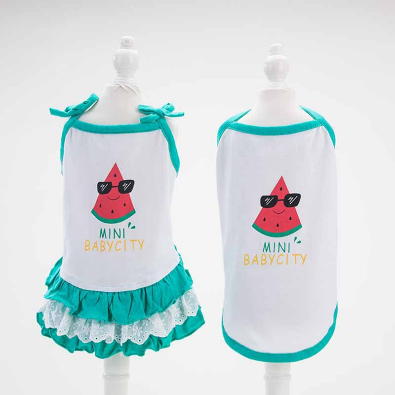 Cheap Cute Summer Pet Dog dress & T shirt Lovely Strawberry Pet Couple suit Puppy Cat Vest Dog Skirts For Small dog