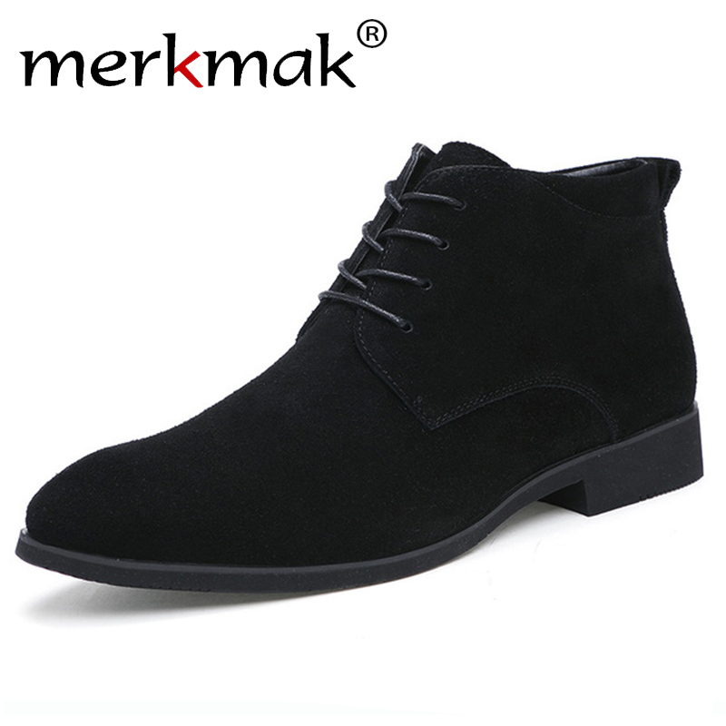 Merkmak Boots Shoes High-Top Winter Genuine-Leather Casual Men Outdoor Ankle Warm Breathable