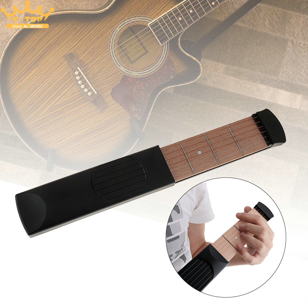 Portable Pocket 6 String 4 Fret Guitar Practice Tool Chord Trainer Model for Beginner portable pocket acoustic guitar practice tool guitar partsgadget chord trainer 6 string 6 fret model for beginner hot sale
