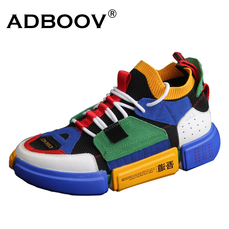 US $37.79 40% OFF|ADBOOV Brand Retro High Top Sneakers Men Mixed Colors Designer Shoes Men'S Casual Shoes Fashion Sock Skateboarding Shoes in Men's