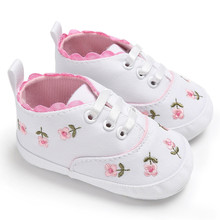 Sneakers Canvas Newborn Infant Baby Girls Floral Crib Shoes Soft Sole Anti-slip MM522