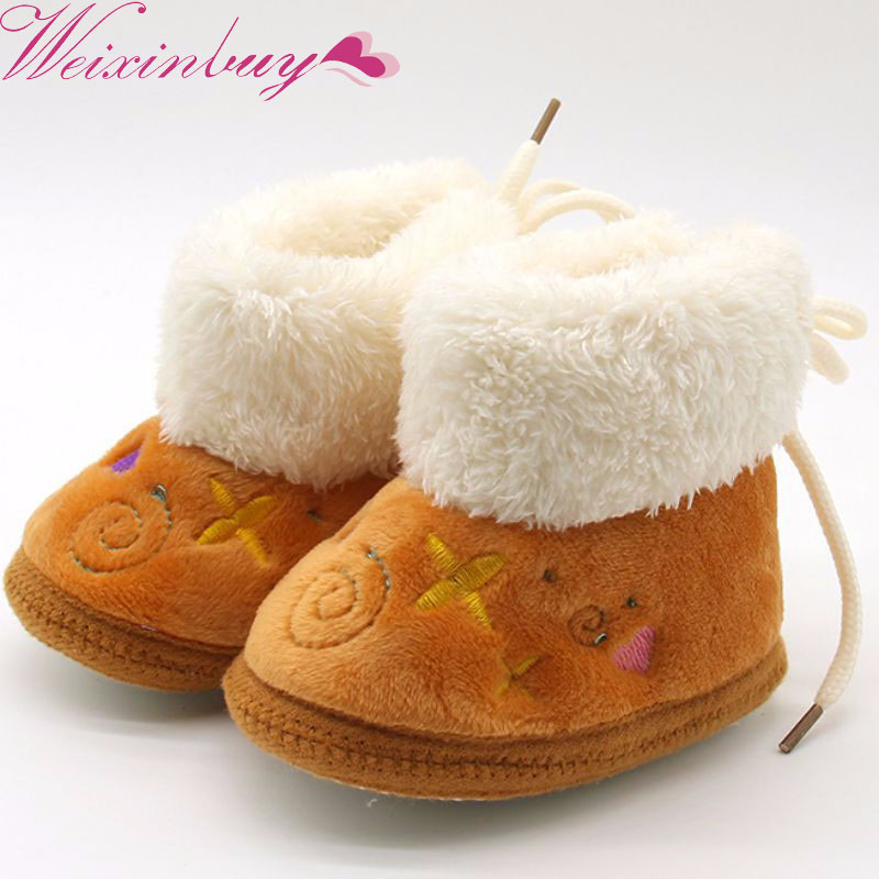 WEIXINBUY Lovely Winter Warm Baby Shoes Soft Bottom Non-slip Boots Toddler Shoes First Walkers Newborn Boys Girls Footwear H2