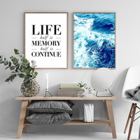 Nordic Ocean Inspiring Quotes Canvas Paintings Posters Minimalist Wall Art Oil Pictures For Living Room Home