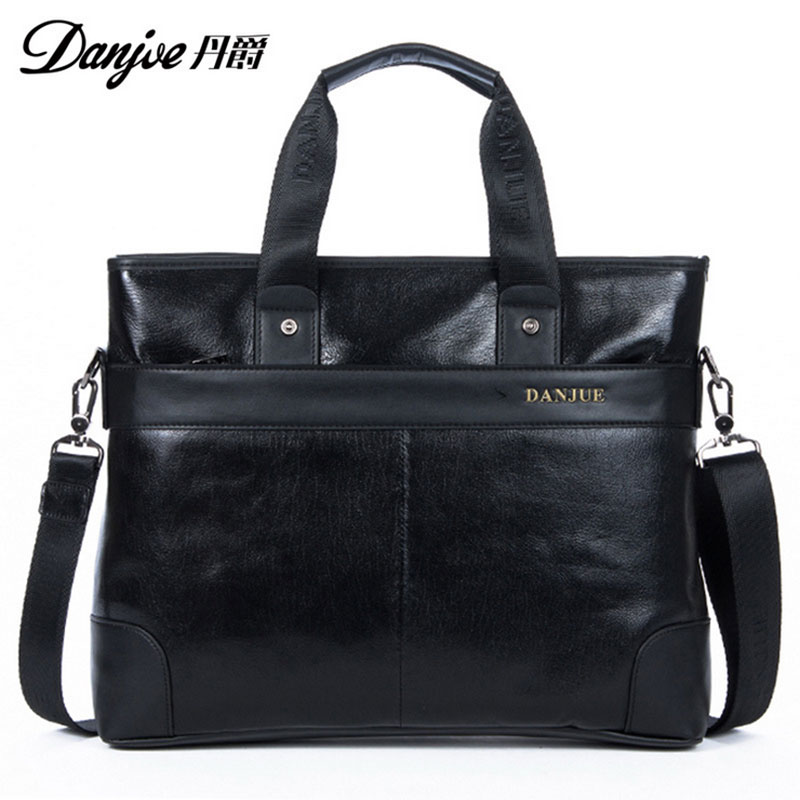 2016 DANJUE New Style For 12 Laptop Fashion Shoulder Bags High Quality Genuine Cowhide Solid men Laptop bag DNB114