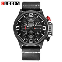 CURREN 8278 Men S Quartz Watches 2017 New Fashion Casual Men Wristwatches Calender Military Leather Relogio