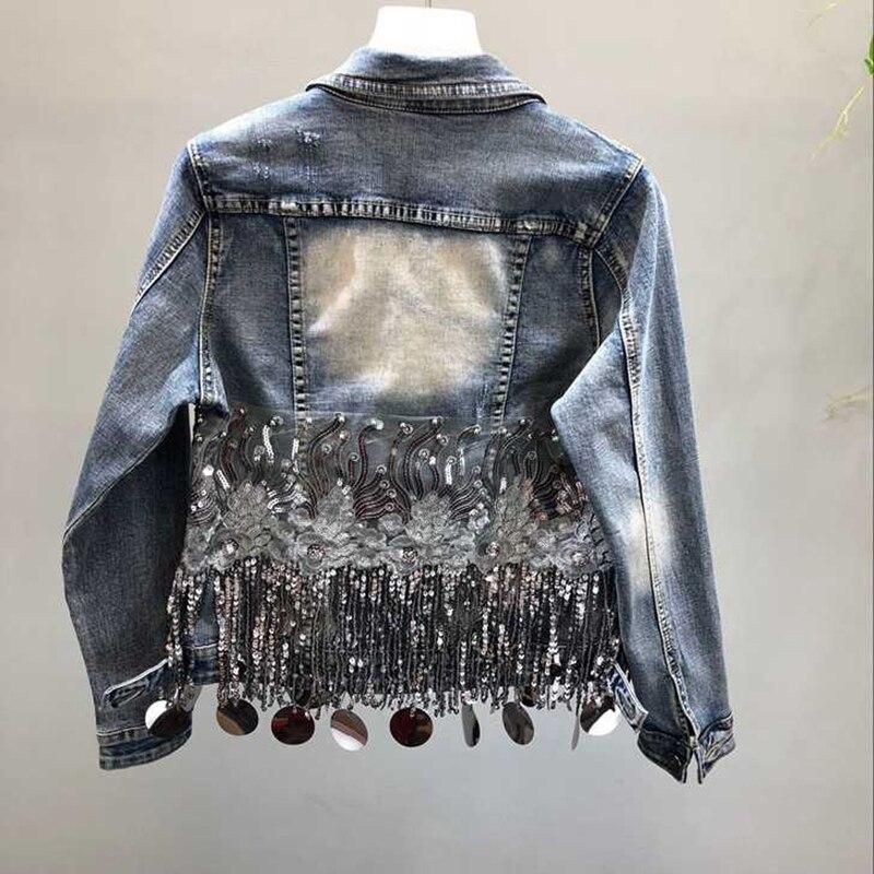 Mode fait à la main perle Rivet Denim veste femmes Rivet gland Slim Jeans veste courte paillettes Jeans veste décontracté fille Outwear - 2