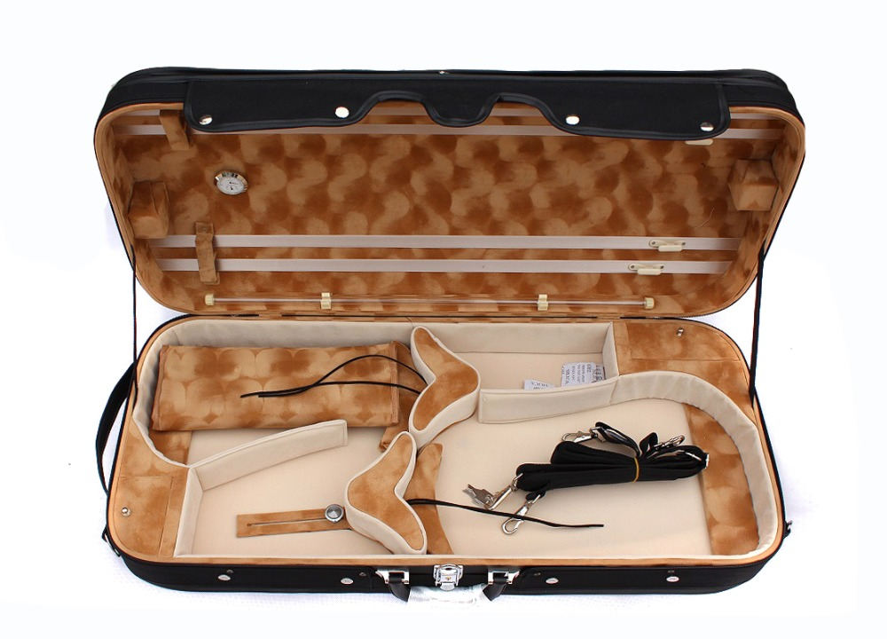 New Double Violin Case +viola Case 4/4 High Strength  R Violin Case  Black Color
