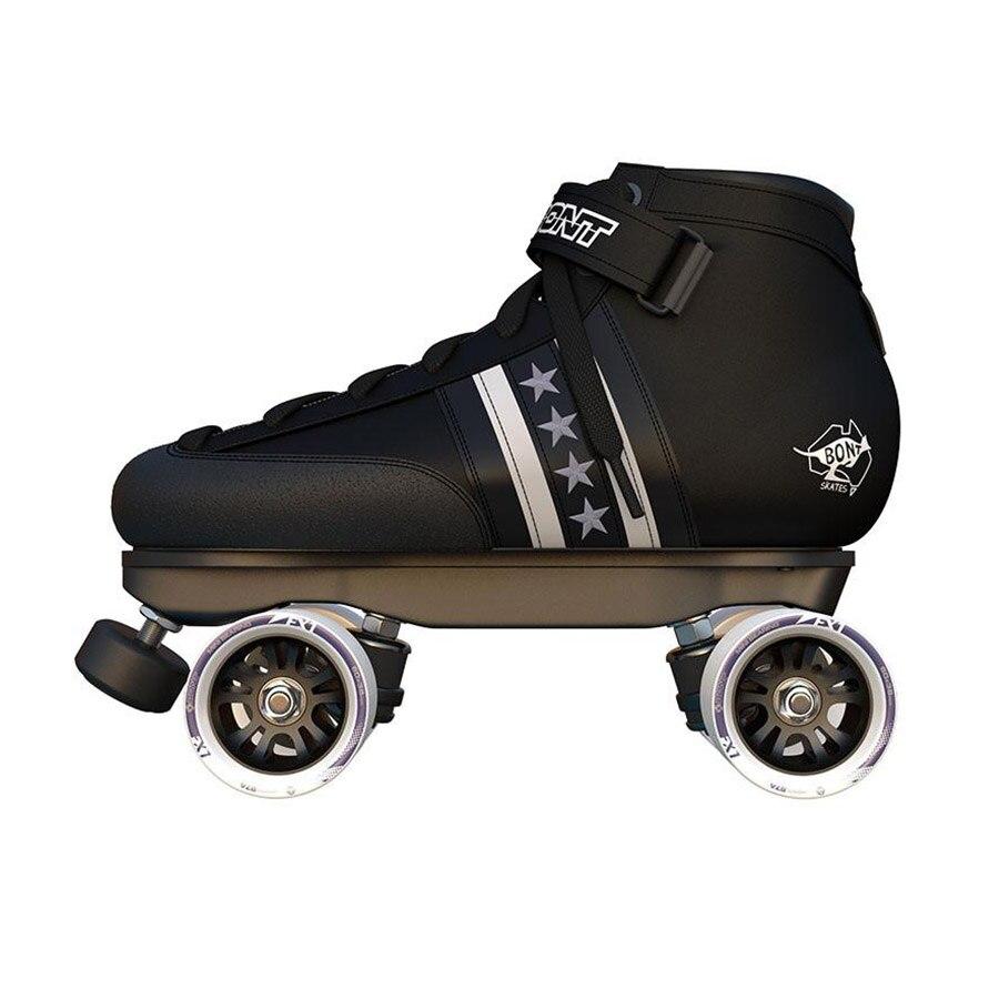 Patins à roulettes doubles originaux Bont Quadstar en cuir véritable Base de botte en fibre de verre moulable à la chaleur 4 roues chaussures de patinage Patines