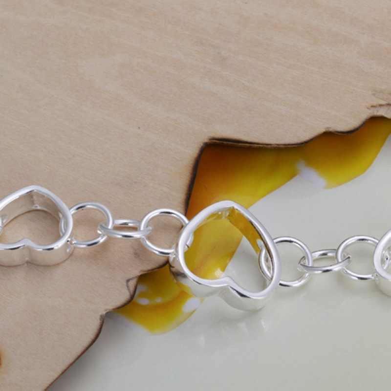 בסדר קיץ סגנון 925 כסף סטרלינג צמיד 925-סטרלינג-כסף תכשיטי תכשיטים מלאכותיים לב שרשרת גברים נשים SB141