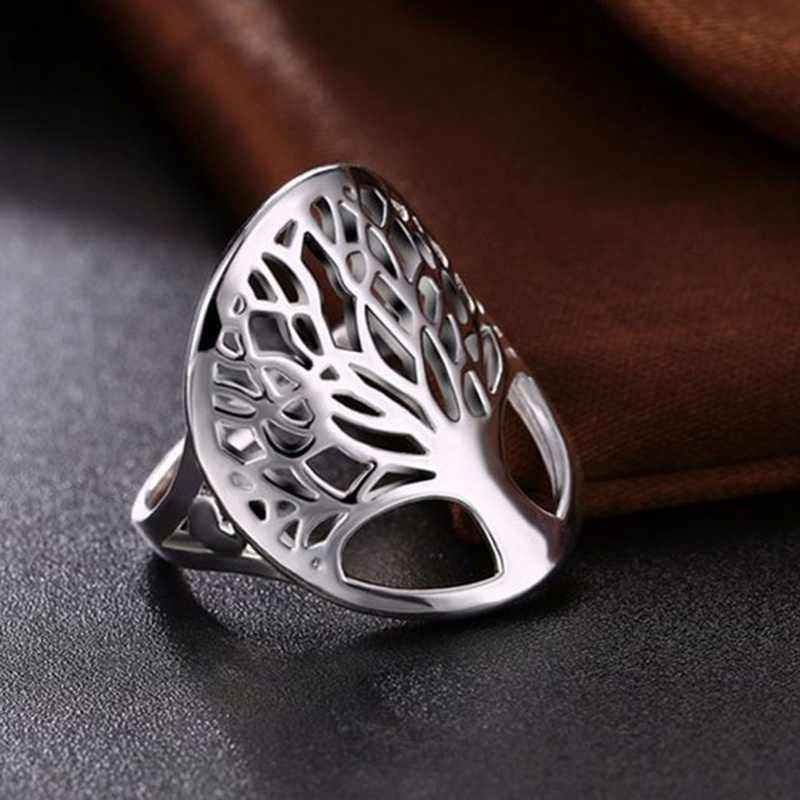 NEW ARRIVAL silver Color life ring hollow fashion plated unique novelty style women lady gift men unisex  tree of