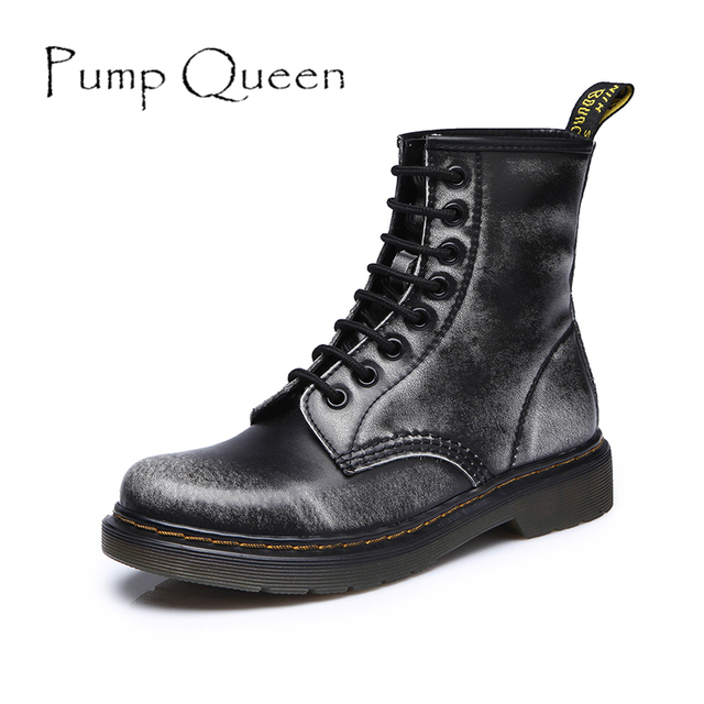 Women Ankle Boots Shoes Woman 2017 Spring Fall Genuine Leather Lace Up Land Shoes Punk White Black Plus Size 42 44 zapatos mujer