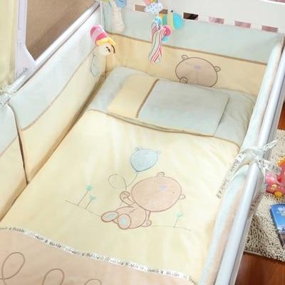 Promotion! Velvet Boy Baby Cot Crib Bedding Set Cuna Baby Bed Bumper Sheet  ,(bumper+sheet+pillow+duvet)