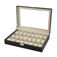 pu Leather Box 24 Slot Display Box Case Organizer Top Glass Jewelry Storage Black Delicate jewelry collection box for jewelry