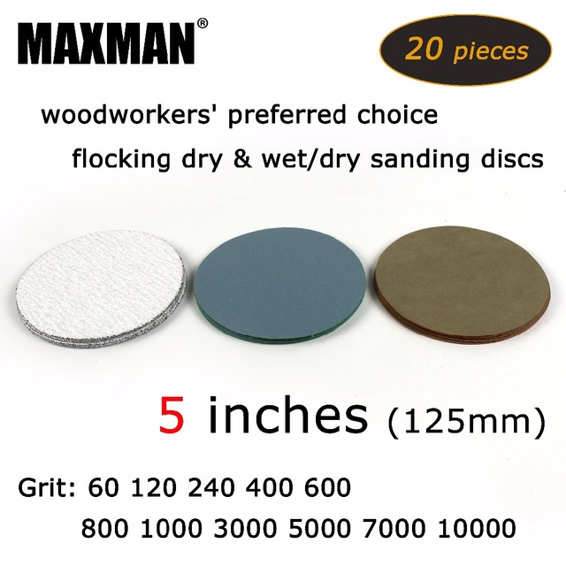 20 pcs/lot 5 inches Hook and Loop Dry & Wet/Dry Flocking Sanding Discs for Polishing Sanding Pad Rotary Tools Accessories