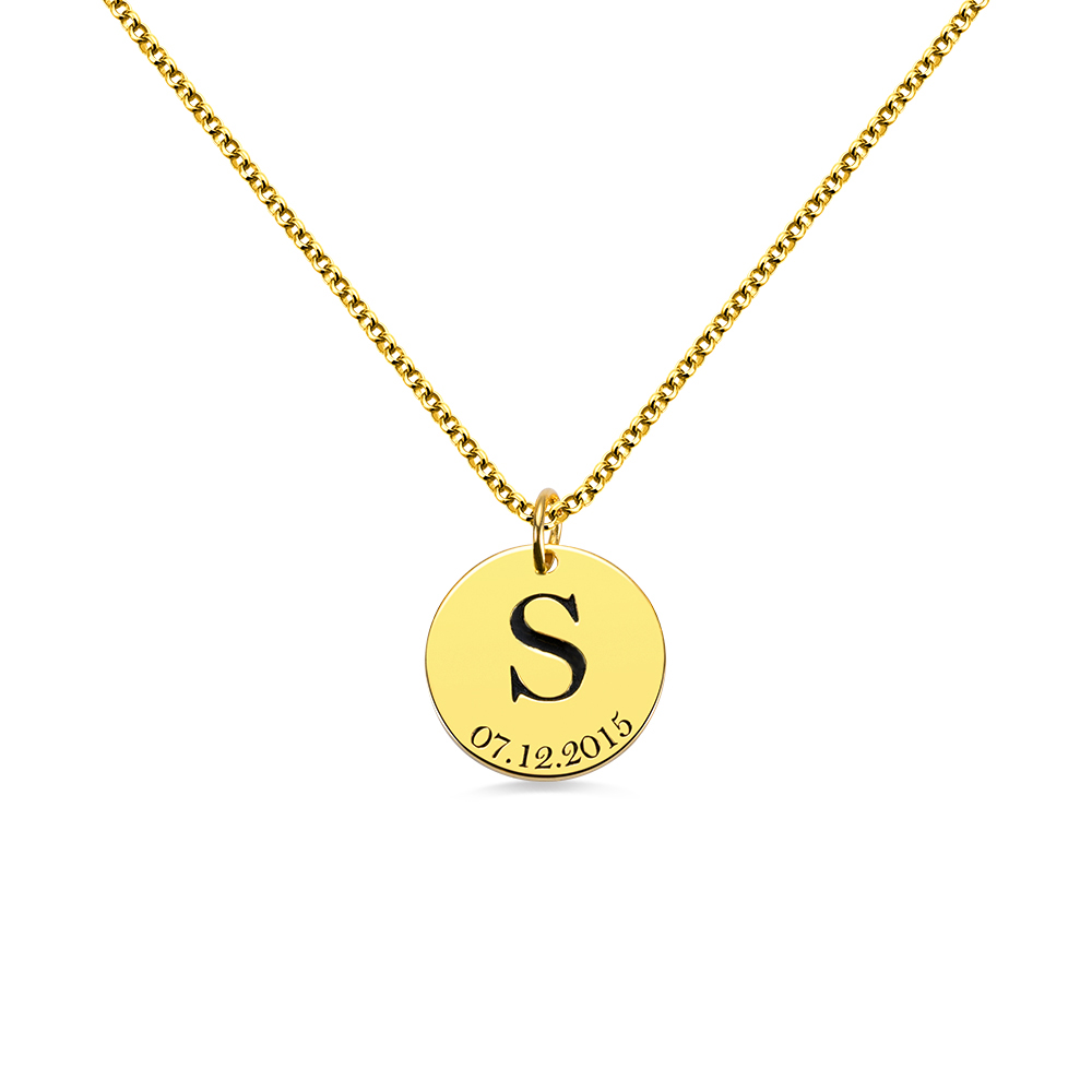 AILIN Customized Initial and Date Engraved Name Coin Necklace For Women Fashion Gold Color