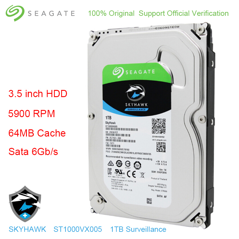 Original Seagate Internal HDD 1TB Skyhawk Video Surveillance Hard Disk Drive 3.5 5900 RPM SATA 6Gb/s 64MB Cache ST1000VX005 Original Seagate Internal HDD 1TB Skyhawk Video Surveillance Hard Disk Drive 3.5 5900 RPM SATA 6Gb/s 64MB Cache ST1000VX005