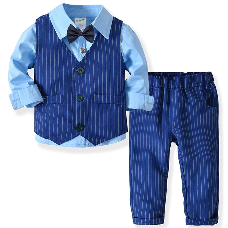0ea6fe0504f02 Boys Clothes Spring Autumn Fashion Baby Suit British Wind Children's Suits  Gentleman Long Sleeve Shirt Vest
