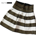 High Waist Hot Sale Rivet Striped Skirt Studded Punk Skirt Elastic Women Brand Ball Gown Cool Saia Female Soft Material
