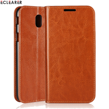 ECLEARER Wallet Case For Samsung Galaxy J7 2017 J730F/ J5 2017 J530F/ J3 2017 Genuine Leather Case Vintage Business Flip Cover