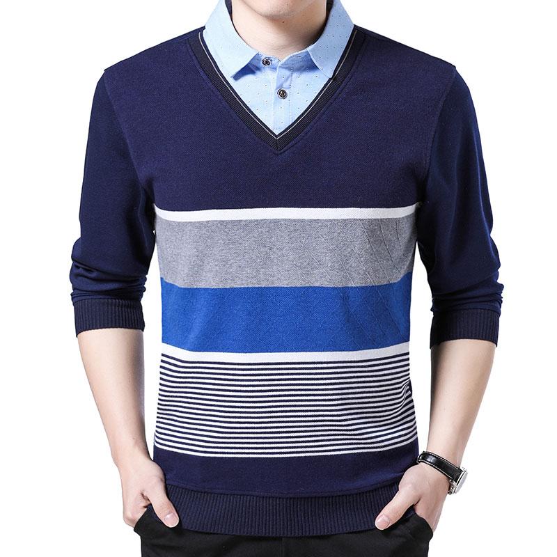 Irregular Striped Patchwork False Two Men's Sweaters Regular Fit Pullover Men Clothes 2018 Long Sleeve Chompas Para Hombre