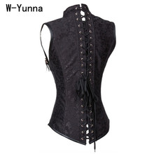 W-Yunna Black Brocade Collared Top Cupless Sexy Corset Vest Steampunk Corset Underbust Gothic Clothing Gothic Collared Top