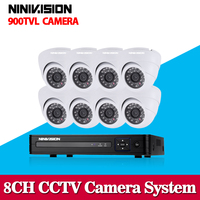 CCTV DVR NVR HVR System 960h 8 Channel Dvr Recording With 8pcs 800tvl Security Camera System