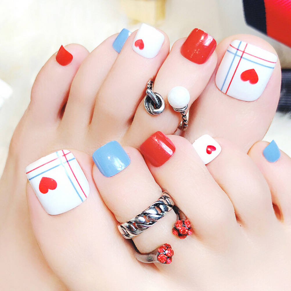 24 pcs/set Red Heart Artificial summer toes full Nail tips finished ...