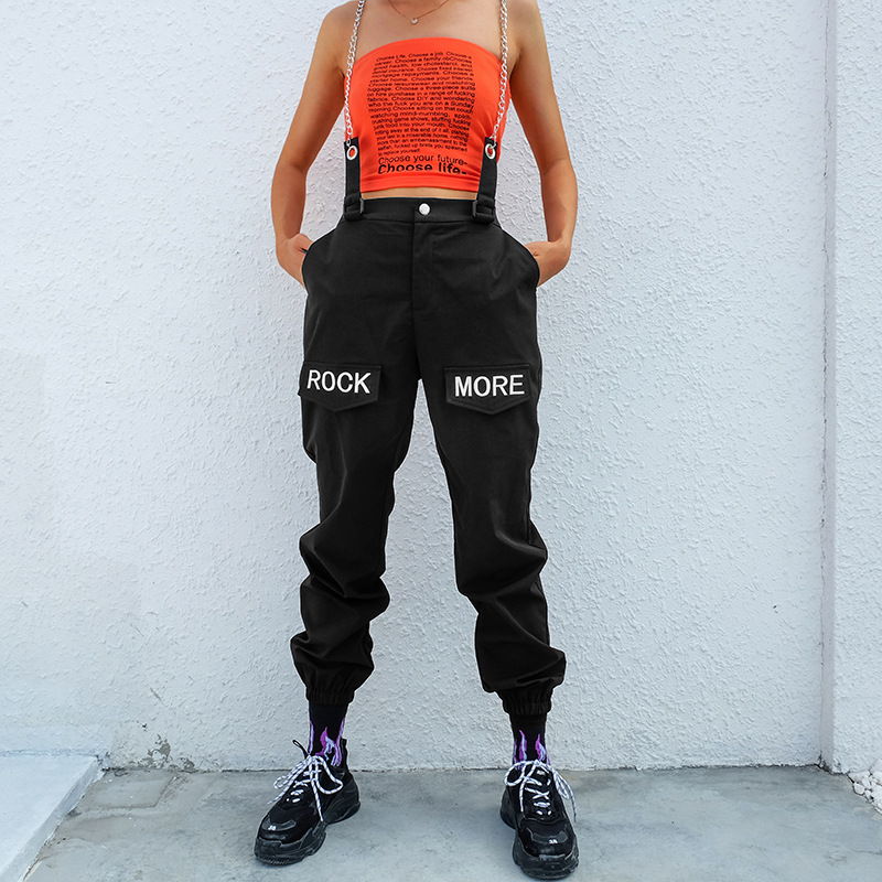 Women Loose Cargo   Pants   High Waist Elastic Black Track   Pants     Capris   Embroidery Letter Trousers Hip Hop Palazzo   Pants   Streetwear