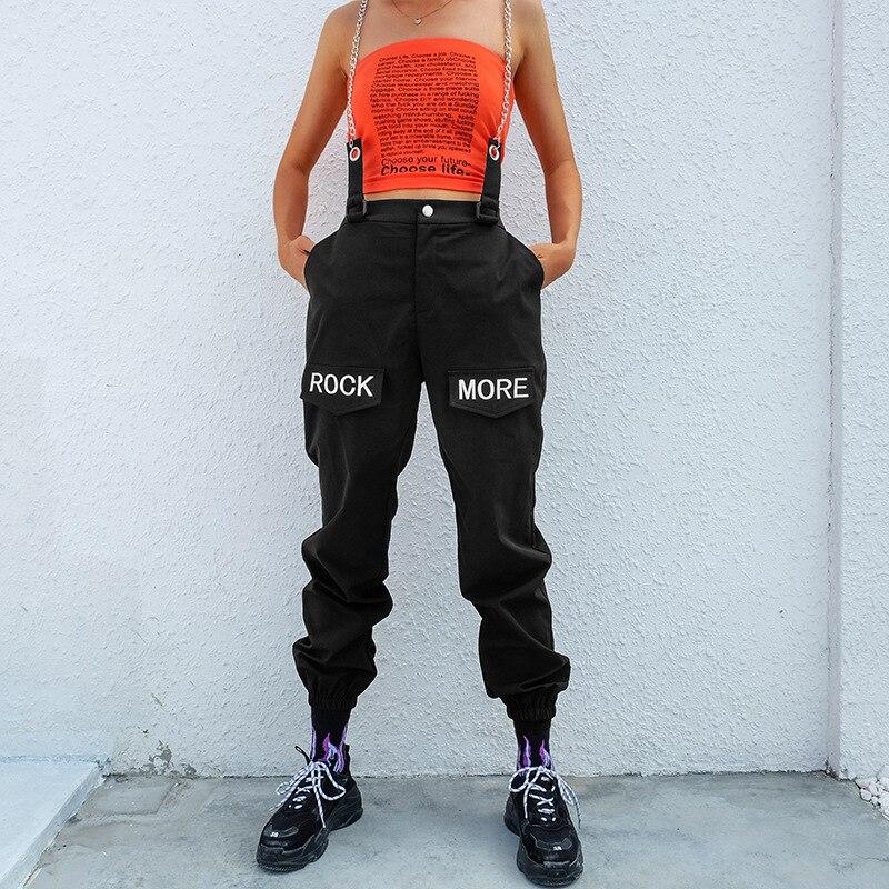 Women Loose Cargo   Pants   High Waist Elastic Black Track   Pants     Capris   Embroidery Letter Trousers Hip Hop Palazzo   Pants   Streetwear