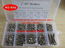 280pcs M2 Screw Kits DIN912 Allen Bolts Hex Socket Head Cap Screw with Hex Nut Assortment Kit M2*4/5/6/8/10/12/16/20/25mm(China)