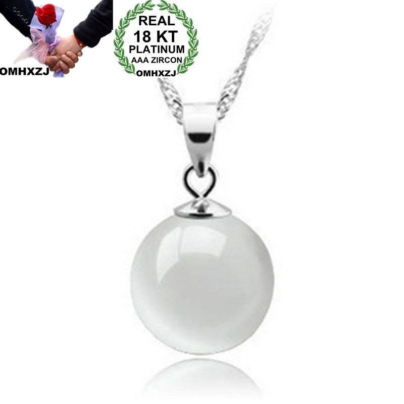 OMHXZJ Wholesale European Fashion Woman Girl Party Wedding Gift White Opal Bead 18KT White Gold Necklace Pendant Charm CA219