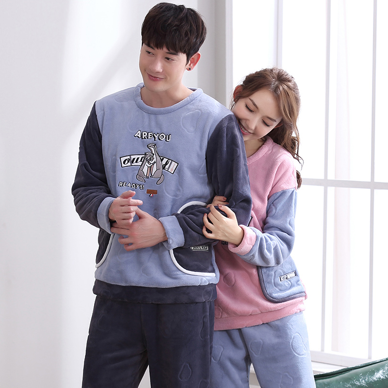 2018 Winter Couples Thick Coral Fleece Pajamas Sets Bottoms Couples Flannel Warm Sleepwear Thermal Homewear