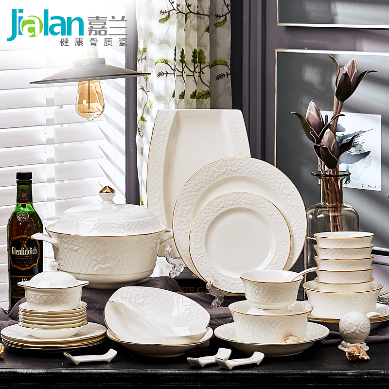 60 household porcelain dishes set garland skull bone china tableware bowl Phnom Penh relief European luxury gifts-in Dinnerware Sets from Home \u0026 Garden on ... & 60 household porcelain dishes set garland skull bone china tableware ...