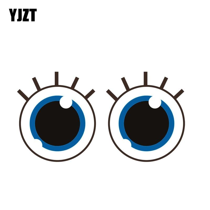 YJZT 16CM*8.5CM Cute Eyes Of Innocent Reflective Car Sticker Decal PVC 12-0738