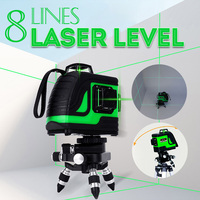 8 Lines Green Cross Line Laser Level 3D 360 Degree Rotation 808nm Auto Self Leveling Horizontal Vertical Indoor/Outdoor
