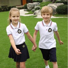 2019 new fashion high quality middle school students uniform boys Korea studens skirt and polor shirt set cotton(China)