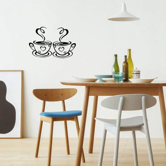 TIE LER New Arrival Beautiful Design Coffee Cups Cafe Tea Wall Stickers Art Vinyl Decal Kitchen Restaurant Pub Decor