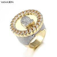 VANAXIN Wide Men Rings Praying Hand CZ Crystal Paved Bling Bling Punk Big Vintage Ring Men Hip Hop Jewellery Gold Color Gift Box