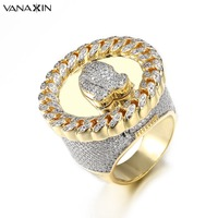 VANAXIN Wide Men Rings Praying Hand CZ Crystal Paved Bling Bling Punk Vintage Ring Men Jewellery